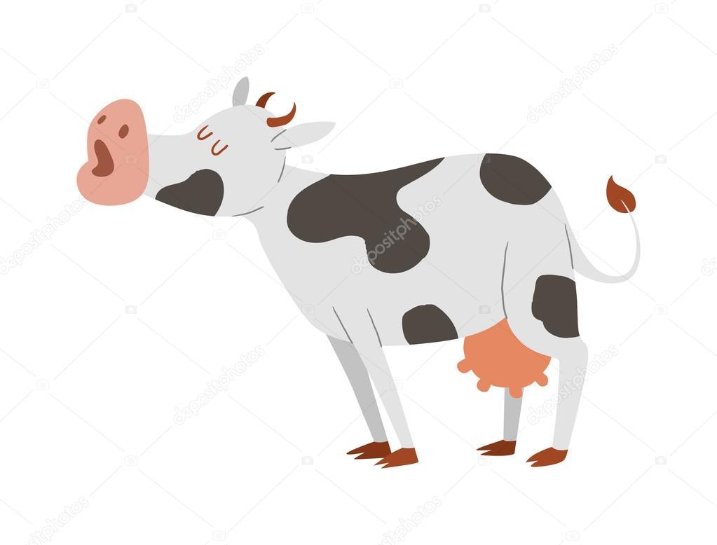 Personnage De Vache Dessin Anime Isole Image Vectorielle Adekvat
