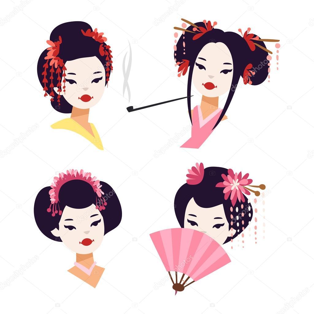 acb114d25 Muchacha de geisha japonesa de vector — Archivo Imágenes Vectoriales ...