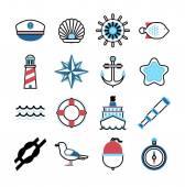 Fotografie Marine Meer Symbole Vektor-set