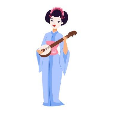Vector set of Japanese geisha girls.