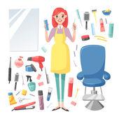 Hairdresser barber girl vector set.