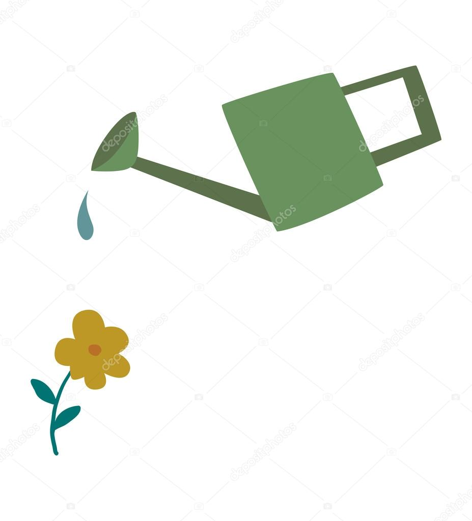 Watering can flowers plant concept