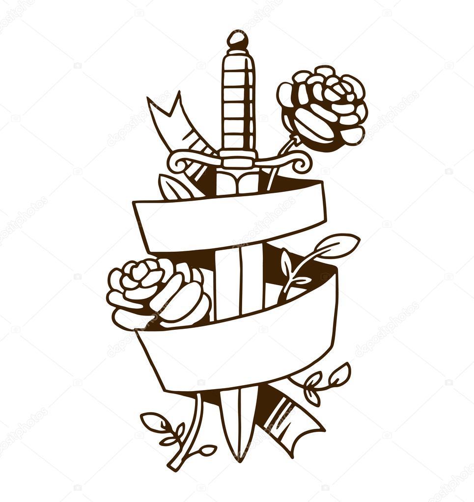 Illustration de vecteur vieux tatouage vintage \u2014 Image vectorielle  123432194