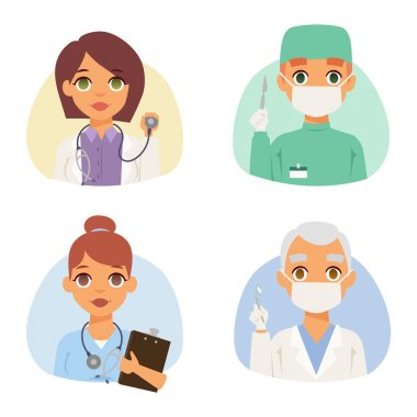 Group of doctors and nurses and medical staff people. Medical team doctors specialists concept in flat design people characters. Doctors specialist uniform surgeon practitioner female vector. clip art vector