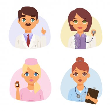 Doctors spetialists faces vector set.