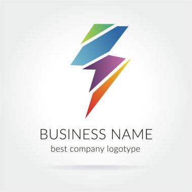 Colored lightning logo icon