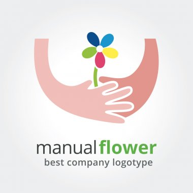 Two hands holding colored flowers. Vector nature logotype isolated on white background