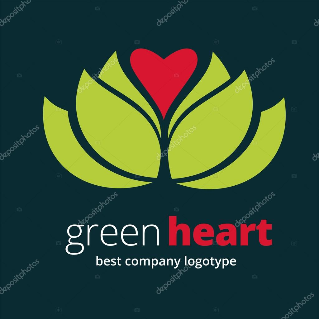 Abstract vector nature logotype with heart isolated on white background