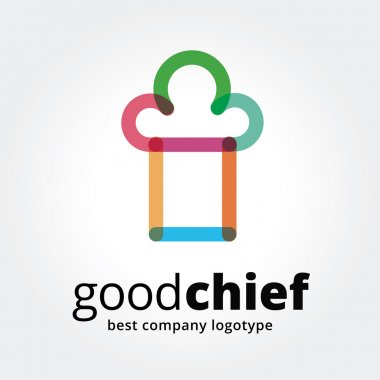 Abstract vector chief cup logotype concept isolated on white background. Key ideas is business, caffe, cookng, food, restaurant, eating. Concept for corporate identity and branding