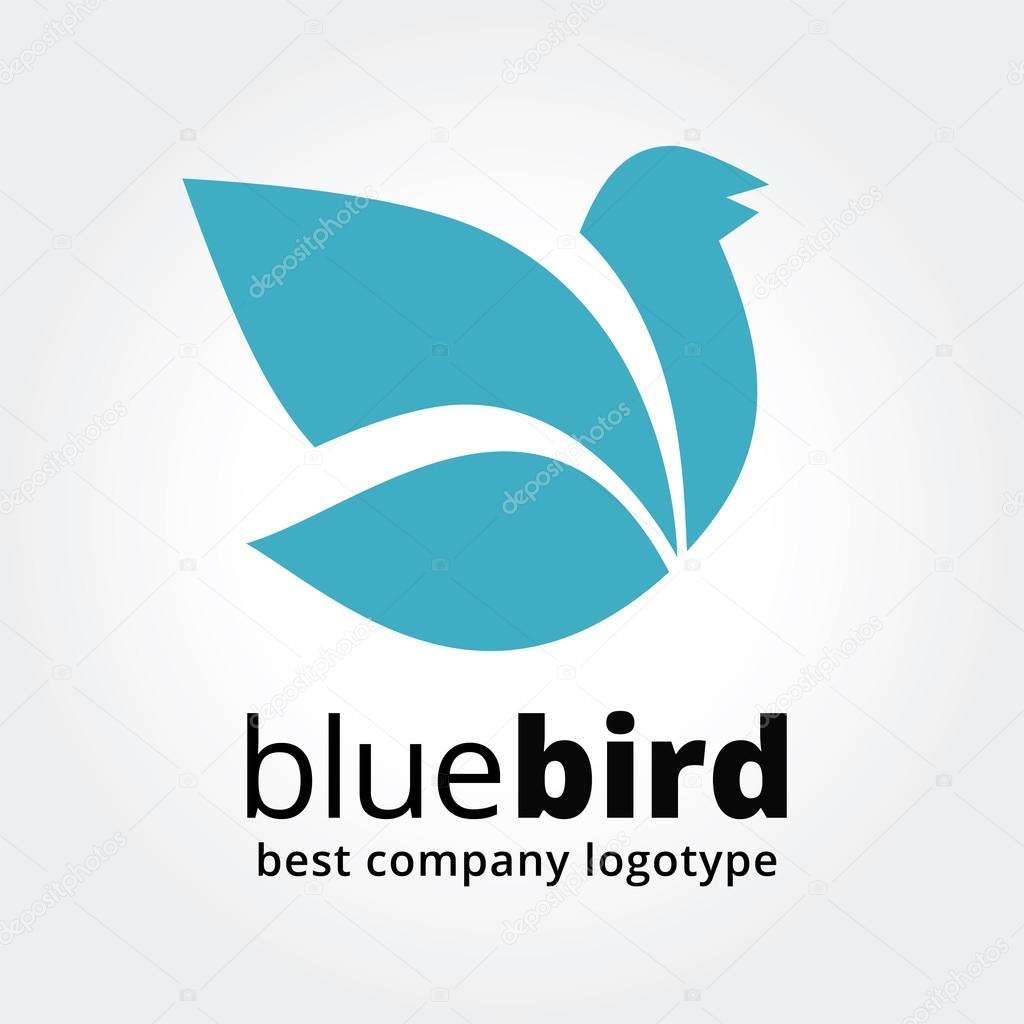 Abstract vector blue bird logotype concept isolated on white background. Key ideas is spa, beauty, design, nature, creative, communication, sotial. Good for corporate identity and branding