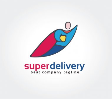 Abstract super hero vector logo icon concept. Logotype template for branding and corporate design