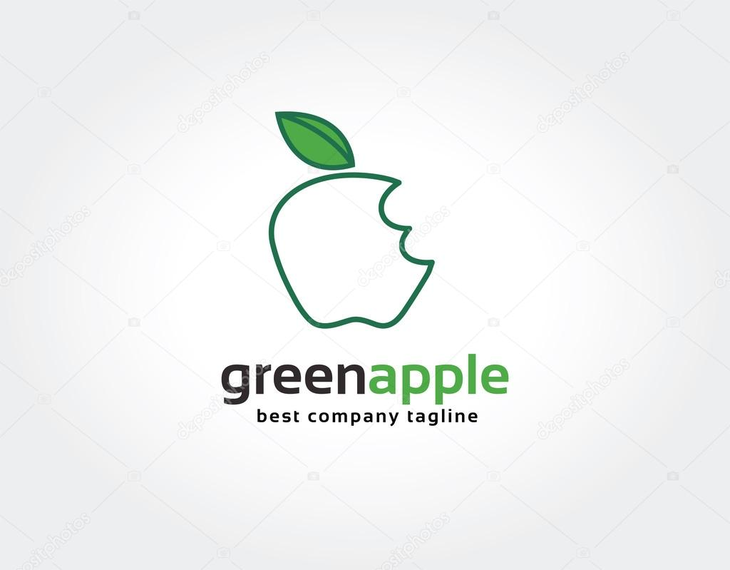 Abstract bitten green apple vector logo icon concept. Logo template for branding and corporate design