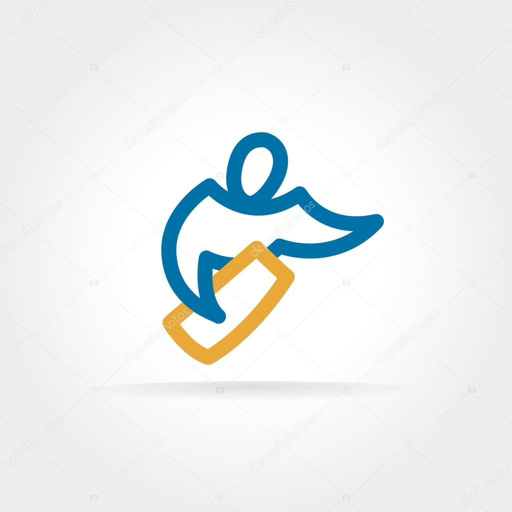 Abstract vector delivery man logo icon concept. Logotype template for branding and corporate design