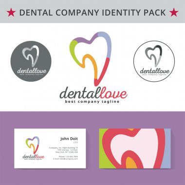 Abstract dentist tooth identity pack vector concept. Logo, vizit cards, and other id blanks. Good for company branding set.