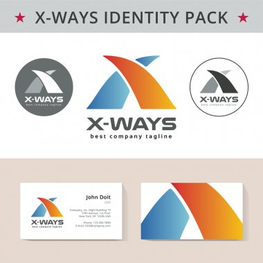 Abstract letter X identity pack vector concept. Logo, vizit cards and other id blanks. Good for company branding set.