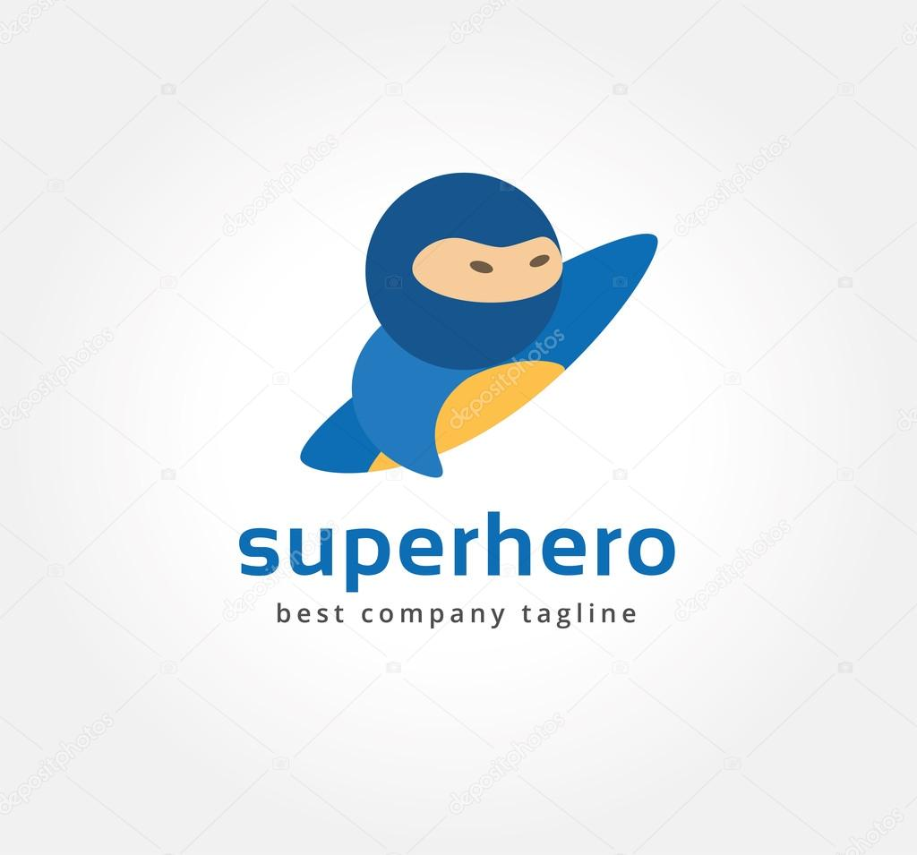 Abstract Vector Superman Logo Icon Concept Logotype Template For Branding And Corporate Design Stock