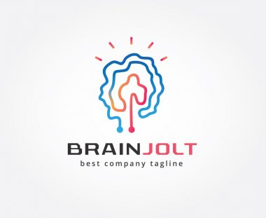 Abstract brain vector logo icon concept. Logotype template for branding and design