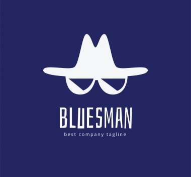 Abstract blues face vector logo icon concept. Logotype template for branding and corporate design