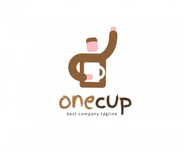 Abstract coffe cup logotype concept isolated on white background. Key ideas is business, coffe, break, pause, food and restaurant. Concept for corporate identity and branding