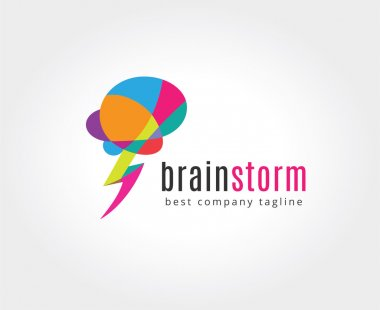 Abstract brain vector logo icon concept. Logotype template for branding