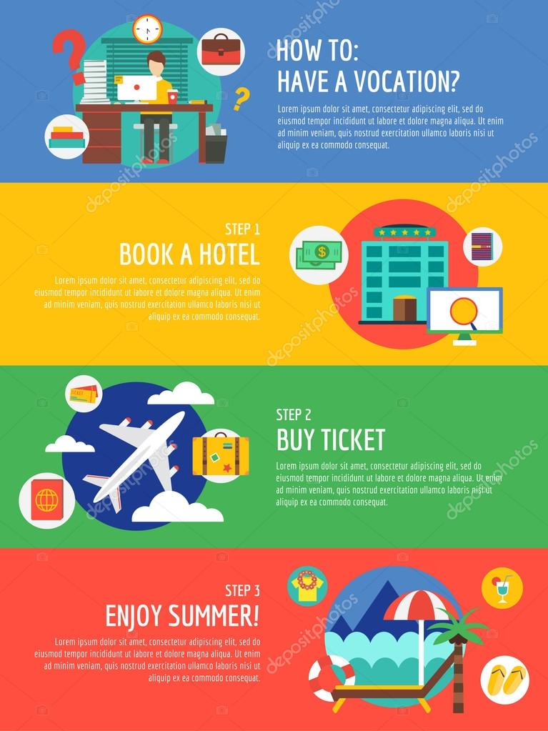 Vocation summer travel infographic. Summer, holiday and sea. Vector stock illustrations for design.