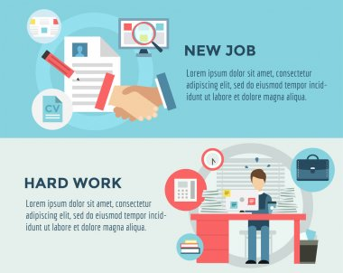 New Job after Hard Work infographic. Students, Stress, Clerk and Professions. Vector stocks illustration for design.