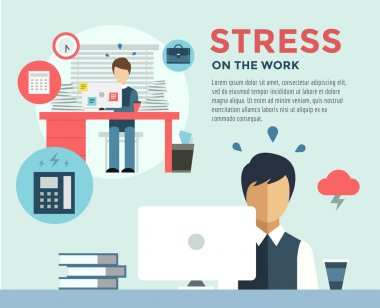 New Job after Stress Work infographic. Students, Stress, Clerk and Professions. Vector stocks illustration for design.