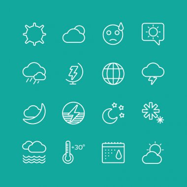 Weather Icons Vector Set. Clouds, Sky or Wind and Interface Elements symbols. Stocks Design Element clip art vector