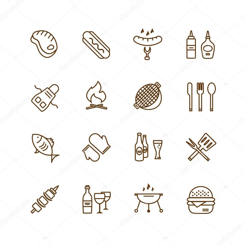 Barbecue and food icons vector objects set outdoor for Kitchen design vector