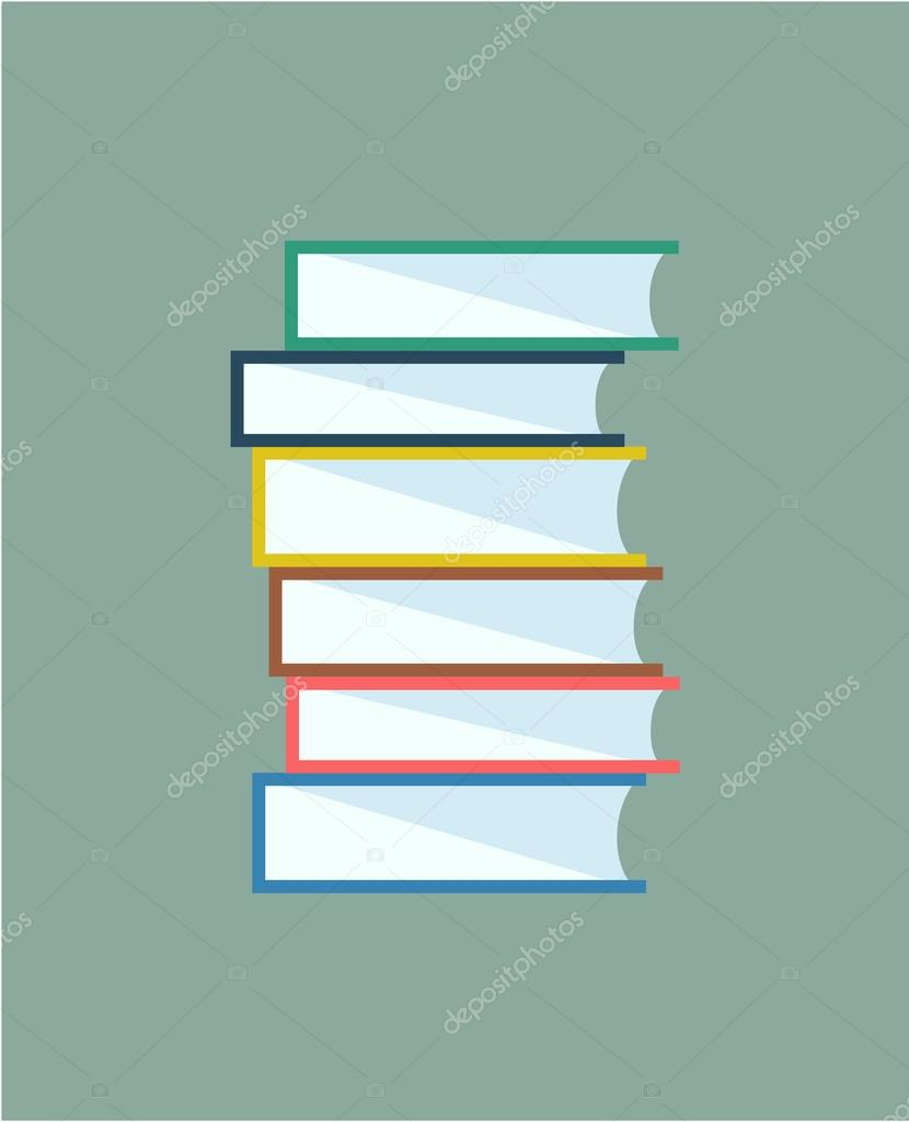Books stack. Vector isolated. School objects, or university and college symbols. Stock design elements