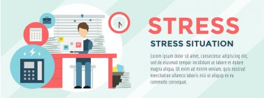 Clerk at Stress Illustration. Office, Table, Designer and Computer. Vector stock for design.