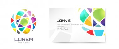 Vector globe logo and business card template. Abstract arrow design and creative identity idea, blank, paper. Stock illustration. Isolated on white background
