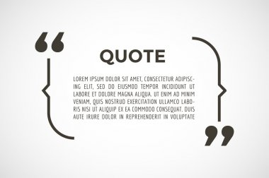 Quote text bubble. Commas, note, message, blank, template, text, marked, tag and comment or info, sticker, saying, quoting, information. Vector stock element for design.