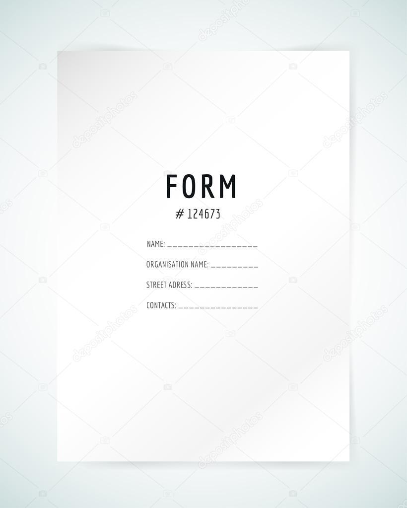 Formular leere Vorlage. Business-Ordner, Papier und Druck, Büro ...