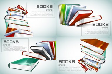 Book 3d vector illustration isolated on white. Back to school. Education, university, college symbol or knowledge, books stack, publish, page paper. Design element.
