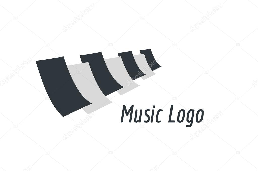 Music Piano Keys Logo Icon Template Melody Classic Note Symbol
