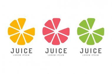 Lime or lemon fruit drink logo icon template design. Fresh, juice, drink, yellow, splash, vegetarian, cold. Stock vector.