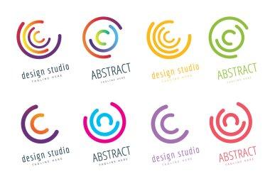 Vector circle ring logo design. Abstract flow icon template