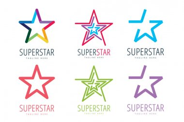 Star vector logo icon template set. Leader, boss, winner, rank or ranking