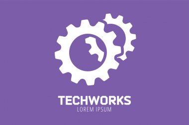 Gear vector logo icon template. Machine, progress, teamwork