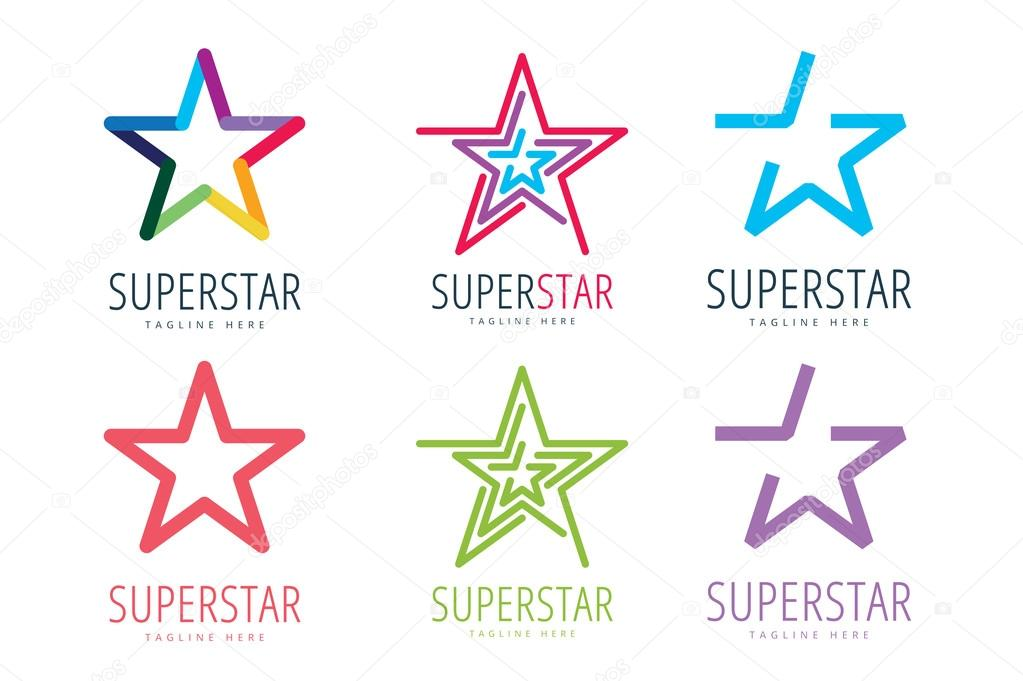 Star vector logo icon template set. Leader, boss, winner, rank or ranking