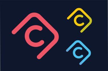 Vector C letter logo. Circle ring logo design. Abstract flow