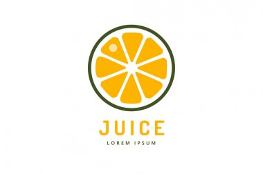 Lime or lemon fruit drink logo icon template design. Orange juice. Fruit slice. Fresh juice drink, yellow, splash and vegetarian, cold. Stock vector.
