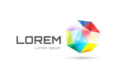 Abstract globe logo template. Tetrahedron logo design. Technology logo symbol icons. 3d shape and globe symbol, geometric icon, triangle pattern, lines, web net. Company logotype. Geometric shape.