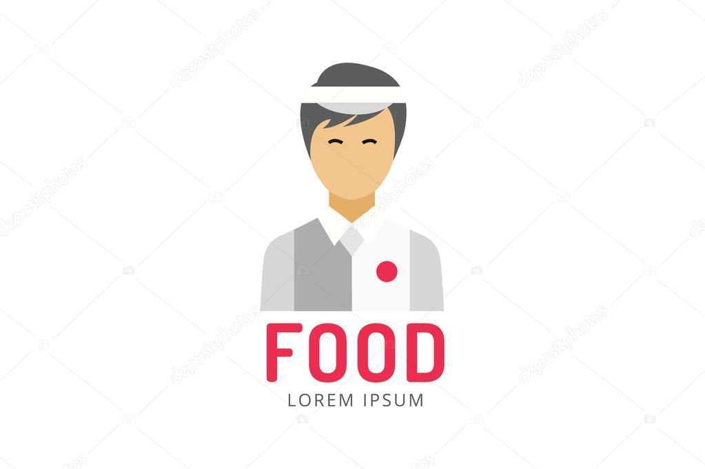 chinese or japanese fast food man silhouette logo icon template
