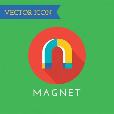 Magnet icon logo. Technology, money or commerce and mobile symbols. Poles, power, red, retro, school, science, shape, sign, steel, symbol, technology, tool