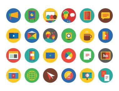 Training Icon Set. Webinar and business symbols. Stocks design elements.