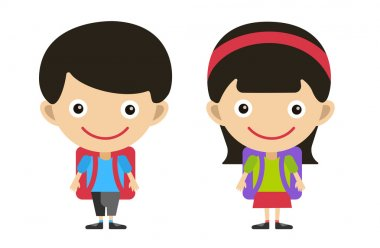 Vector cute cartoon boy and girl with school uniform isolated on white. Back to school background. School uniform, university, preschool and education, small kids, teens,  smile face, people stock vector