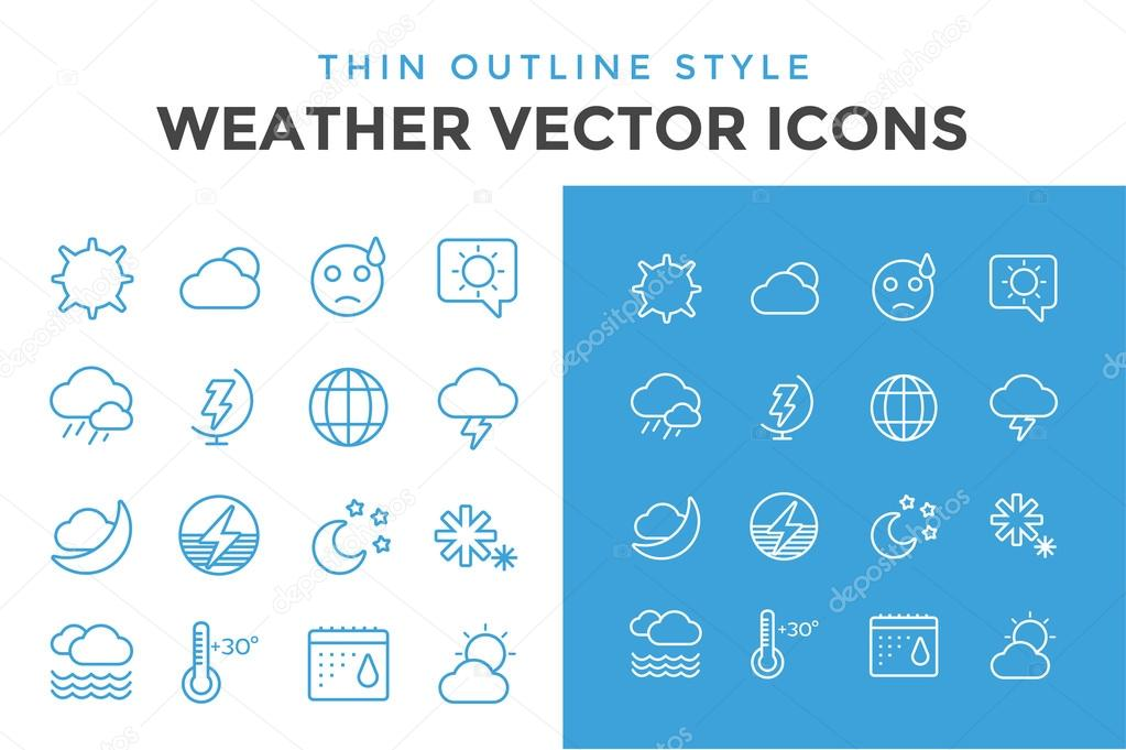 Weather icons outline set