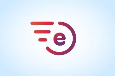 Fast line vector letter E logo monogram